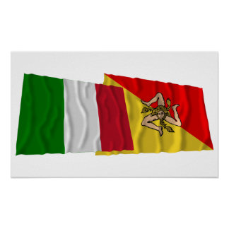 Italy and Sicilia waving flags Poster