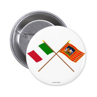 Italy and Veneto Crossed Flags 6 Cm Round Badge