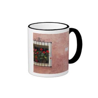 Italy, Asciano, Window Boxes with Fresh Spring Ringer Mug