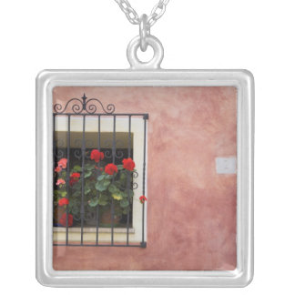 Italy, Asciano, Window Boxes with Fresh Spring Square Pendant Necklace