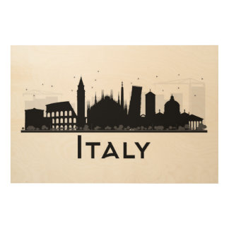 Italy Black and White Skyline Wood Wall Art