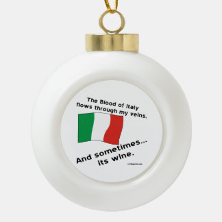 Italy Blood Wine Ceramic Ball Christmas Ornament