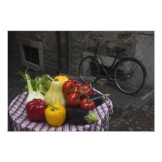 Italy, Brescia Province, Gargnano. Table with Photo Print