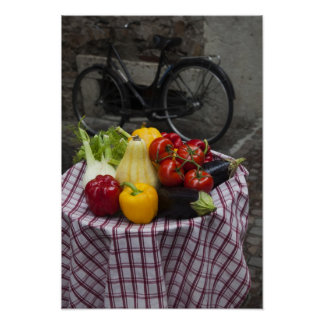 Italy, Brescia Province, Gargnano. Table with Poster