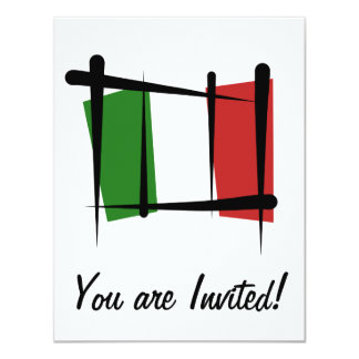 Italy Brush Flag 11 Cm X 14 Cm Invitation Card