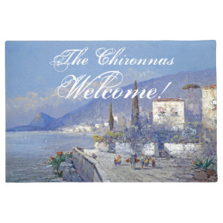 Italy Capri Island Flowers Ocean Welcome Doormat