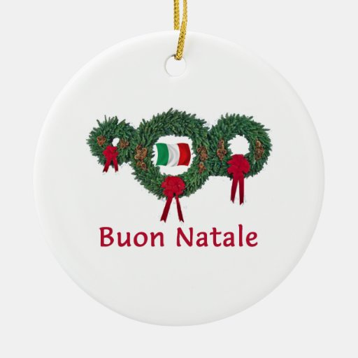 Italy Christmas 2 Double-Sided Ceramic Round Christmas