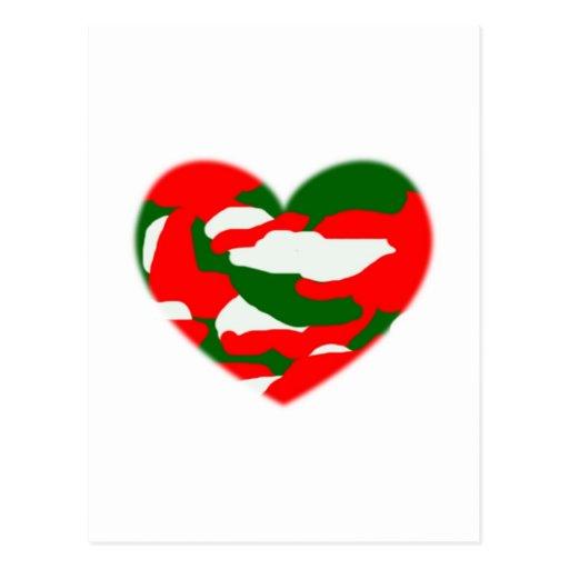 Italy Christmas Camo Heart Postcard