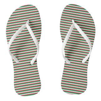 Italy Flag Green, White, Red Stripes Thongs