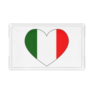 Italy Flag Heart Acrylic Tray