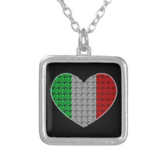 Italy Flag Heart Silver Plated Necklace