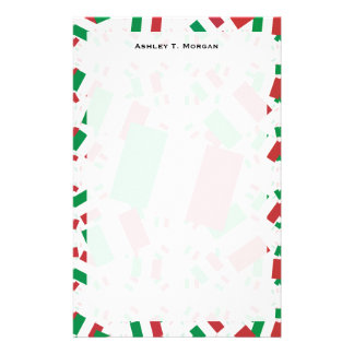 Italy Flag in Multiple Colorful Layers Askew Personalized Stationery