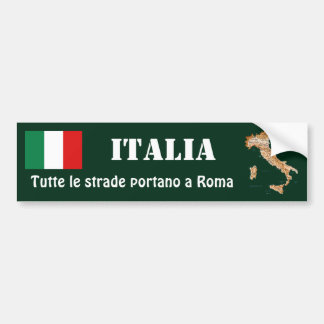 Italy Flag + Map Bumper Sticker