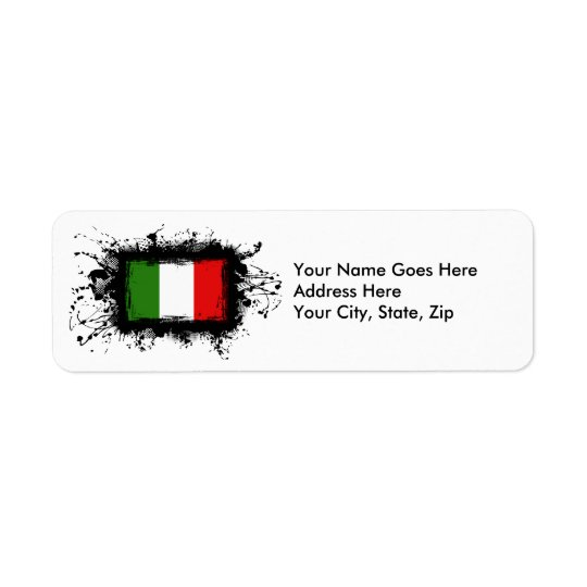 Italy Flag Return Address Label