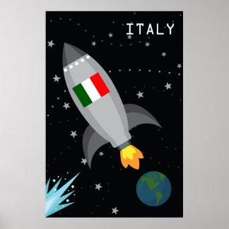 Italy Flag Rocket Ship Poster