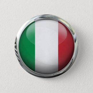 Italy Flag Round Glass Ball 6 Cm Round Badge