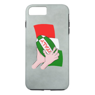 Italy Flag With Cartoon Rugby Ball iPhone 7 Plus Case