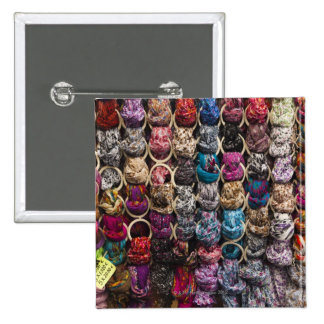 Italy, Florence, Colourful scarves outside shop 15 Cm Square Badge