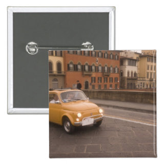 Italy, Florence. Fiat 800 Rally crosses Arno 15 Cm Square Badge
