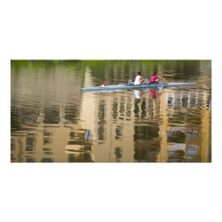 Italy, Florence, Rowing Sculls with 2 Art Photo