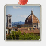 Italy, Florence, View of Florence Cathedral Silver-Colored Square Decoration