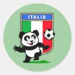 Italy Football Panda Classic Round Sticker