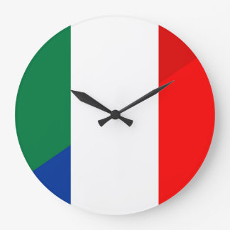 italy france flag country half symbol large clock