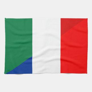 italy france flag country half symbol tea towel