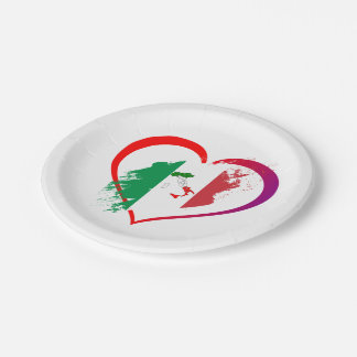 Italy heart paper plate