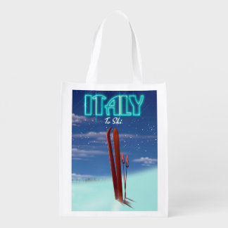Italy 'Ice' Ski travel poster. Reusable Grocery Bag