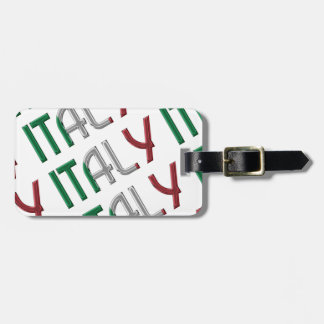 Italy Italian Flag Colors Typography Pattern Luggage Tag