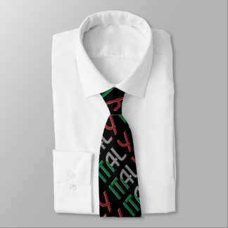 Italy Italian Flag Colors Typography Pattern Tie