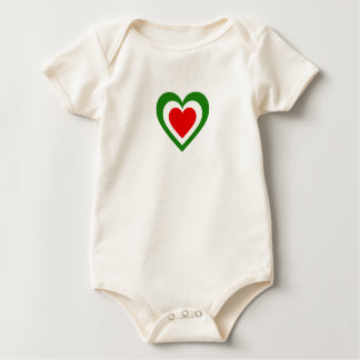 Italy/Italian Flag-Inspired Hearts Baby Bodysuit