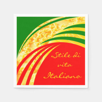 Italy Italian Flag Pasta Design with your Text Disposable Napkin