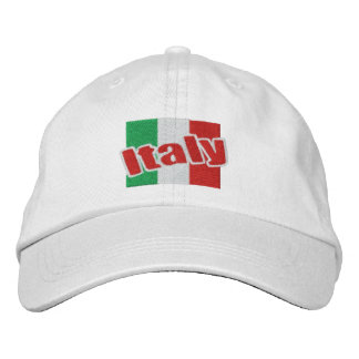 Italy Italian Flag With Text Embroidered Hats
