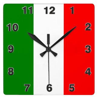 Italy Italian Italia Flag Tricolore Design Square Wall Clock