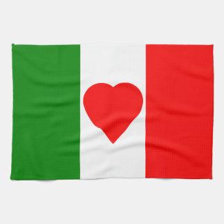 Italy Italian Italia Flag Tricolore Heart Design Towels