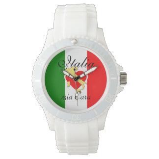 Italy Italian Italia Italo Flag Heart Gold Country Watch