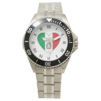 ITALY ITALY Souvenir NATIONAL FLAG in heart Watches