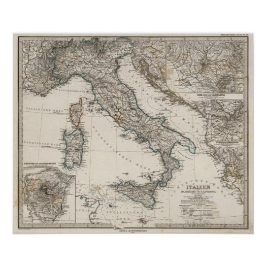 Italy Map by Stieler Poster
