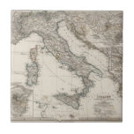 Italy Map by Stieler Small Square Tile