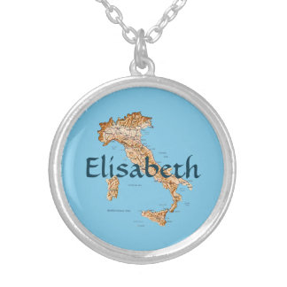 Italy Map + Name Necklace