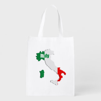 Italy map reusable grocery bag