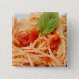 Italy, Orta, Lake Orta, spaghetti with tomato 15 Cm Square Badge