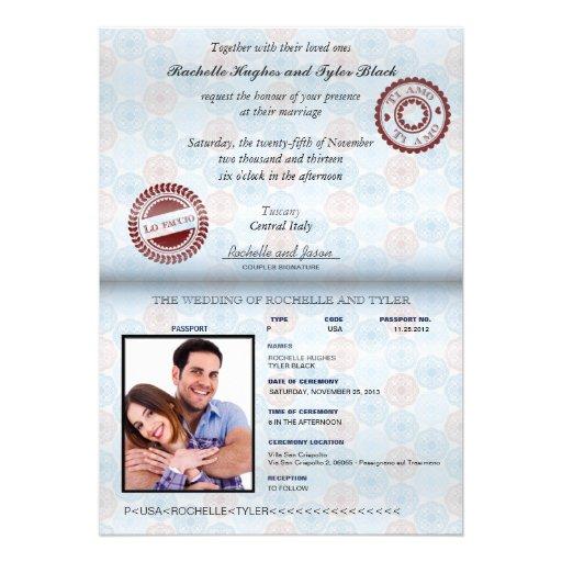 Italy Passport (no glare) Wedding Invitation II