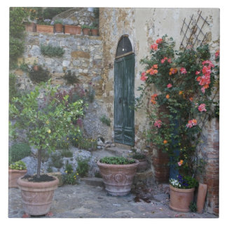 Italy, Petroio. Potted plants decorate a patio Large Square Tile
