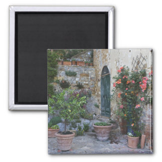 Italy, Petroio. Potted plants decorate a patio Fridge Magnet