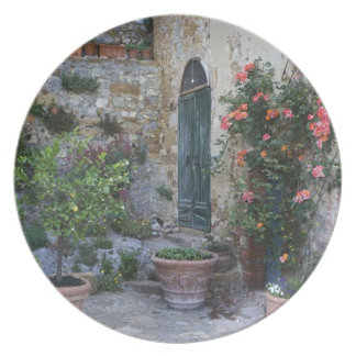 Italy, Petroio. Potted plants decorate a patio Plates