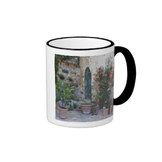 Italy, Petroio. Potted plants decorate a patio Ringer Mug