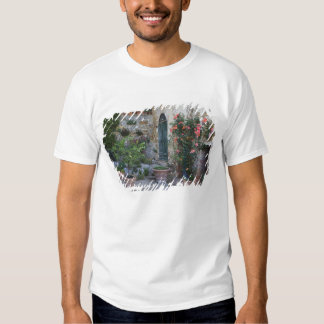 Italy, Petroio. Potted plants decorate a patio Shirt
